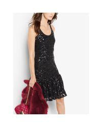 Michael Kors | Black Sequined Lace Dress | Lyst