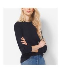 Michael Kors - Blue Ribbed Cotton And Silk Sweater - Lyst