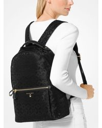 Michael Kors Black Michael Nylon Kelsey Signature Backpack