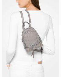 Michael Kors | Gray Rhea Mini Perforated Leather Backpack | Lyst