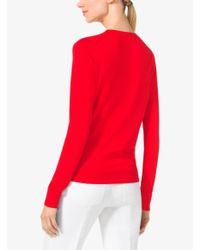 Michael Kors | Pink Silk V-neck Sweater | Lyst