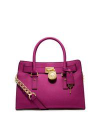 cfac14438ea9 Michael Kors Hamilton Saffiano Leather Medium Satchel in Purple - Lyst