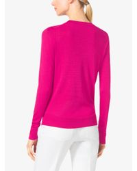 Michael Kors - Purple Silk V-neck Sweater - Lyst