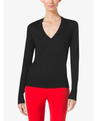 Michael Kors - Black Silk V-neck Sweater - Lyst