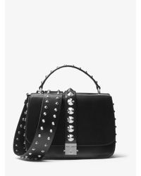 Michael Kors | Black Mia Studded French Calf Shoulder Satchel | Lyst