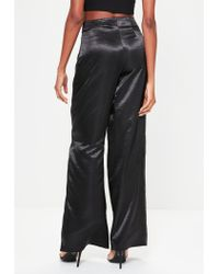 Missguided - Black Satin Double Tie Front Wide Leg Trousers - Lyst