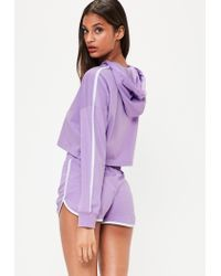 Missguided | Purple Lilac Hoodie And Shorts Pyjama Set | Lyst