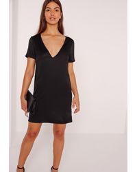 bbf06674d0d Lyst - Missguided V Neck Satin T-shirt Dress Black in Black