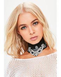 Missguided   Black Bandanna Diamante Choker Necklace   Lyst