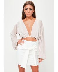 Missguided - White Scuba Mini Skirt - Lyst