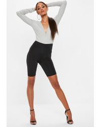 Missguided - Tall Gray Ribbed Studded Bodysuit - Lyst