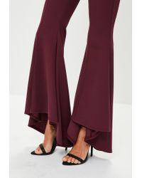 Missguided - Purple Burgundy Asymmetric Draped Cigarette Trousers - Lyst