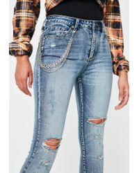 Missguided - Blue Sinner High Waisted Chain Skinny Jeans - Lyst