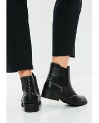 Missguided - Black Studded Side Chelsea Boots - Lyst
