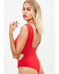 Missguided Red Scoop Back Bodysuit