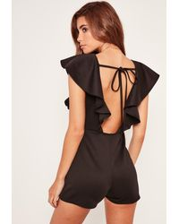 Missguided - Scuba Frill Sleeve Backless Romper Black - Lyst