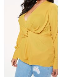 Missguided - Curve Mustard Yellow Long Sleeve Wrap Top - Lyst