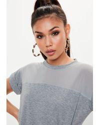 Missguided - Gray Grey Mesh T-shirt Dress - Lyst