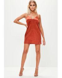 Missguided - Orange Velvet Slip Dress - Lyst