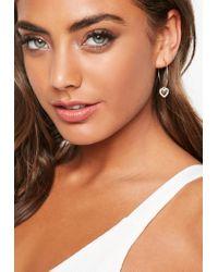 Missguided - Multicolor Diamante Heart Charm Drop Earrings - Lyst