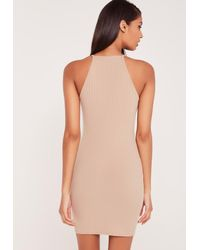 Missguided - Natural Carli Bybel Ribbed Square Neck Bodycon Dress Nude - Lyst