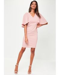 e0cb4942edcbf Missguided Pink Cape Shoulder Midi Dress in Pink - Lyst