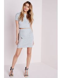 Missguided - Gray Round Neck Bandage Ribbed Crop Top Grey - Lyst