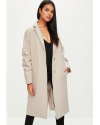 eded4c4334250 Missguided Nude Ruched Sleeve Longline Coat in Natural - Lyst