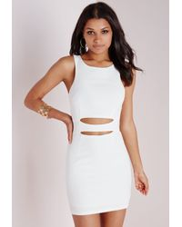 Missguided - Cut Out Bodycon Dress White - Lyst