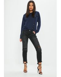 Missguided Blue Navy Distressed Ribbed Oversized Hoodie