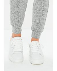 Missguided - White Flatform Lace Up Sneakers - Lyst