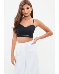 Missguided - Blue Navy Crepe Cut Out Bralet - Lyst