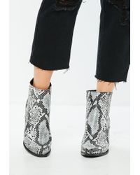Missguided - Gray Snakeskin Curved Heel Western Chelsea Ankle Boots - Lyst