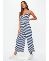 91c449be79a1 Missguided Stripe Print Ribbed Culotte Jumpsuit in Blue - Lyst