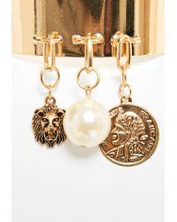 Missguided - Metallic Gold Metal Charm Drop Cuff Bracelet - Lyst