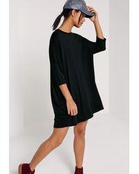 Missguided - Oversized Raglan T Shirt Dress Black - Lyst