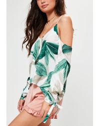 Missguided - White Tie Sleeve Supported Bardot Floral Printed Top - Lyst