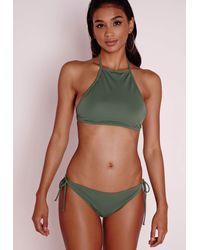 Missguided - Natural High Neck Bikini Top Khaki - Lyst