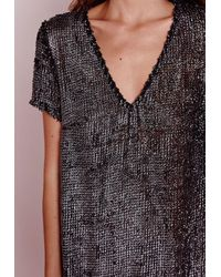 Missguided - Black Plunge Shift Dress Silver Loop - Lyst
