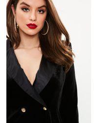 Missguided - Curve Black Velvet Tuxedo Dress - Lyst