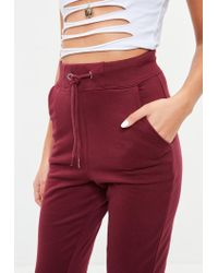 Missguided - Red Tall Burgundy Joggers - Lyst
