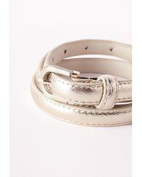 Missguided - Metallic Gold Skinny Belt - Lyst