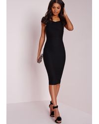 Missguided   Crepe Bardot Midi Dress Black   Lyst