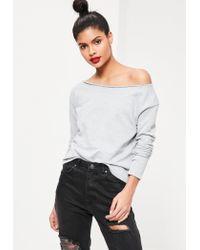 Missguided   Gray Raw Edge Sweatshirt Grey   Lyst