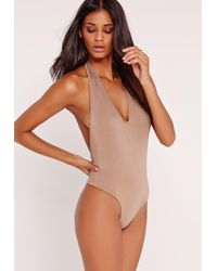 Missguided | Natural Deep Plunge Halter Bodysuit Nude | Lyst