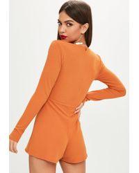 Missguided - Orange Longsleeve Crepe Wrap Skort Romper - Lyst