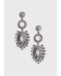 Missguided - Metallic Silver Triple Crystal Earrings - Lyst