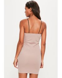 Missguided - Pink Panelled Strappy Bodycon Dress - Lyst