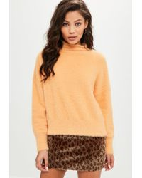 Missguided - Orange Fluffy High Neck Sweater - Lyst