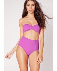 Missguided - Twist Bandeau Bikini Top Purple - Mix & Match - Lyst
